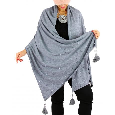 Châle étole hiver pompons perles bohème INGRID gris