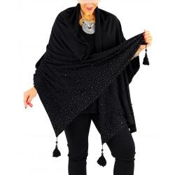 Châle étole hiver pompons perles bohème INGRID noir