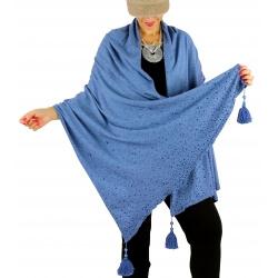 Châle étole hiver pompons perles bohème INGRID bleu jean