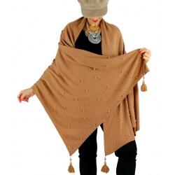 Châle étole hiver pompons perles bohème INGRID camel