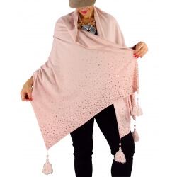 Châle étole hiver pompons perles bohème INGRID rose poudre