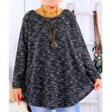 Tunique grande taille longue hiver GISOU noir