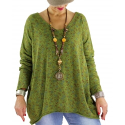Pull tunique coton liberty JOSIANE anis
