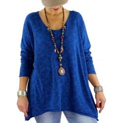 Pull tunique coton liberty JOSIANE bleu royal