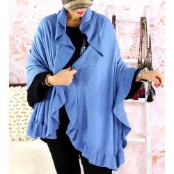 Étole châle cape laine volants CESARE Bleu jean Étole femme