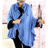Étole châle cape laine volants CESARE Bleu jean-Étole femme-CHARLESELIE94