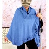 Etole châle cape laine volants bleu jean CESARE