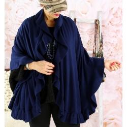 Étole châle cape laine volants CESARE Bleu marine Étole femme
