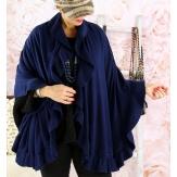 Etole châle cape laine volants bleu marine CESARE