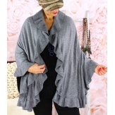 Etole châle cape laine volants gris CESARE