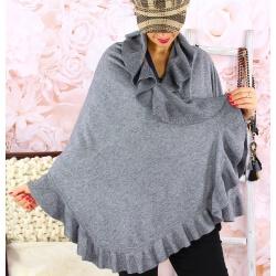 Étole châle cape laine volants CESARE Gris Étole femme