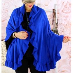 Étole châle cape laine volants CESARE Bleu royal Écharpe laine femme