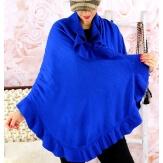 Etole châle cape laine volants bleu royal CESARE