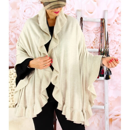 Étole châle cape laine volants CESARE Beige Écharpe laine femme