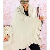 Etole châle cape laine volants beige CESARE