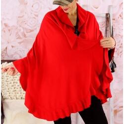 Étole châle cape laine volants CESARE Rouge Étole femme