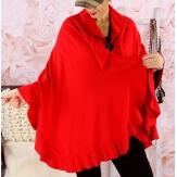 Etole châle cape laine volants rouge CESARE