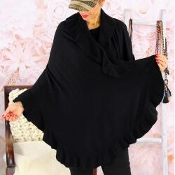 Étole châle cape laine volants CESARE Noir Écharpe laine femme