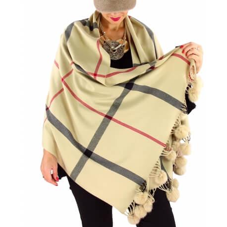 Écharpe étole femme cachemire laine XXL tartan CLAUDE