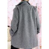 Manteau femme hiver lainage bouclette gris SAPHIR