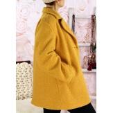 Manteau femme hiver lainage bouclette safran SAPHIR