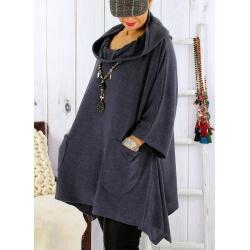 Tunique capuche grande taille CLAUDETTE Gris Tunique hiver femme