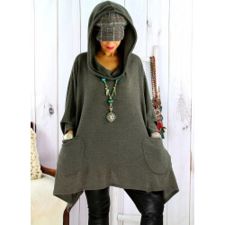 Tunique capuche grande taille CLAUDETTE Kaki Tunique hiver femme