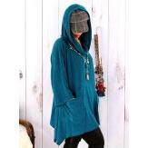 Tunique capuche grande taille CLAUDETTE Canard Tunique hiver femme