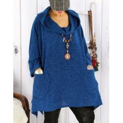 Tunique capuche grande taille CLAUDETTE Bleu pétrole Tunique hiver femme
