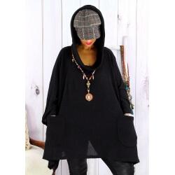 Tunique capuche grande taille CLAUDETTE Noir Tunique hiver femme