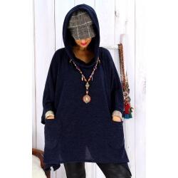 Tunique capuche grande taille CLAUDETTE Bleu marine Tunique hiver femme