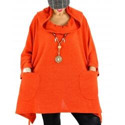 Tunique capuche hiver grande taille CLAUDETTE orange