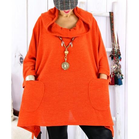 Tunique capuche grande taille CLAUDETTE Orange Tunique hiver femme