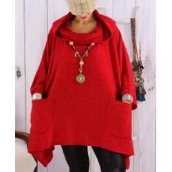 Tunique capuche grande taille CLAUDETTE Rouge Tunique hiver femme