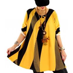 Tunique longue ample grande taille jaune MONACO
