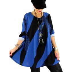 Tunique longue grande taille bohème chic bleu royal MONACO