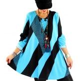 Tunique longue grande taille bohème chic turquoise MONACO