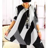 Tunique longue ample grande taille noir gris MONACO