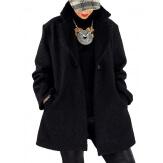 Manteau femme hiver lainage bouclette noir SAPHIR