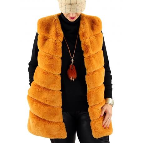 Gilet long manteau sans manches fausse fourrure safran COCOON