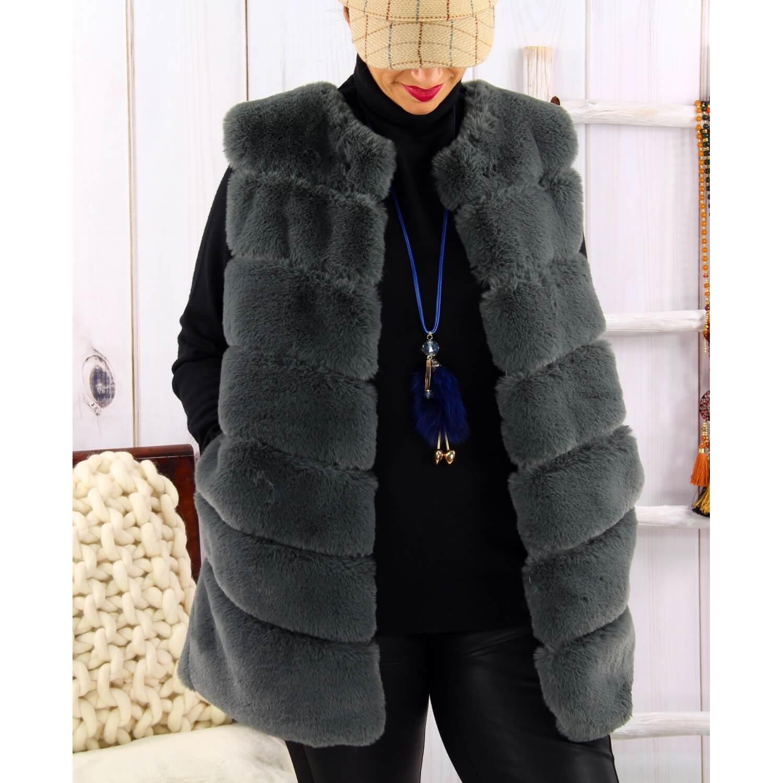 large choix de couleurs original sélectionner pour dernier Gilet long manteau sans manches fausse fourrure gris COCOON