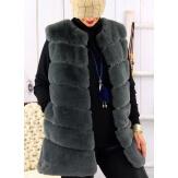 Gilet long manteau sans manches fausse fourrure gris COCOON