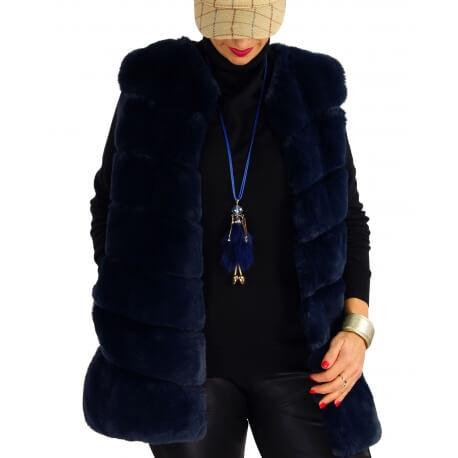 Gilet long manteau sans manches fausse fourrure bleu COCOON