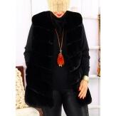 Gilet long manteau sans manches fausse fourrure noir COCOON