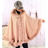 Cape manteau poncho fourrure grande taille hiver poudre JULES