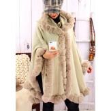 Cape manteau poncho fourrure grande taille hiver beige  JULES