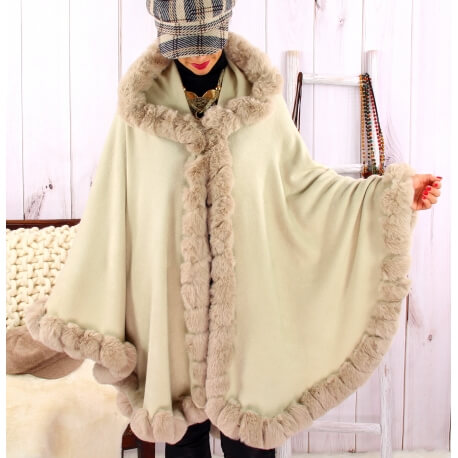 Cape manteau fourrure grande taille hiver JULES Beige Cape femme