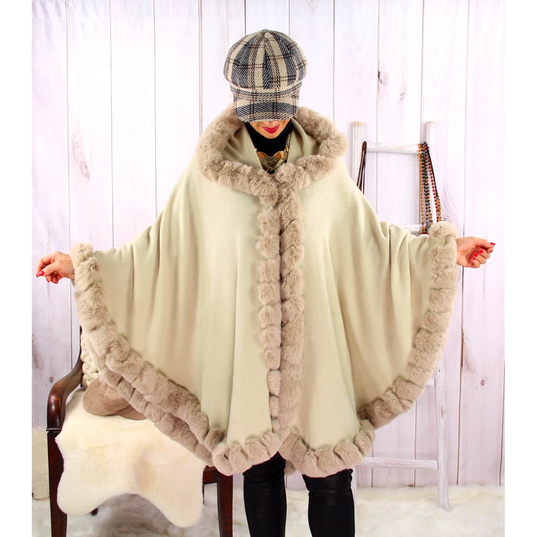 Cape manteau fourrure grande taille hiver JULES Beige