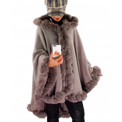 Cape manteau poncho fourrure grande taille hiver gris taupe JULES-Cape femme-CHARLESELIE94