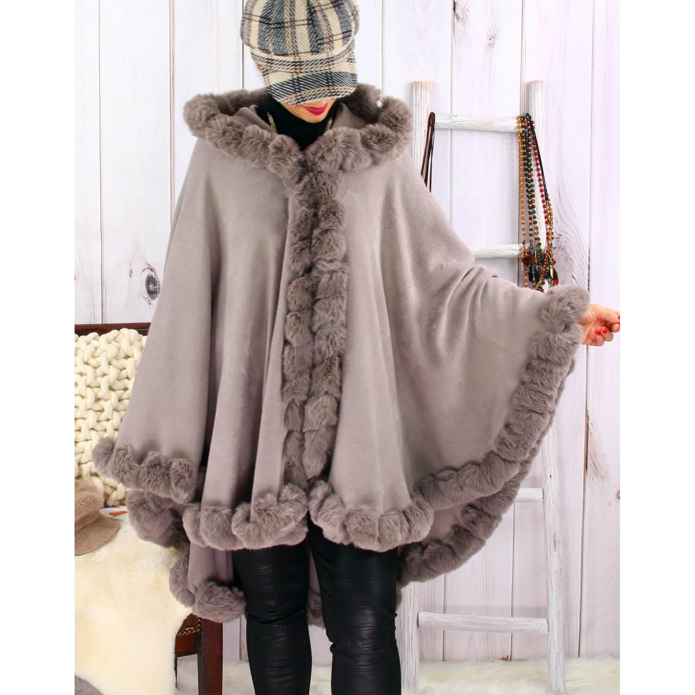 Cape manteau poncho fourrure grande taille hiver gris taupe JULES